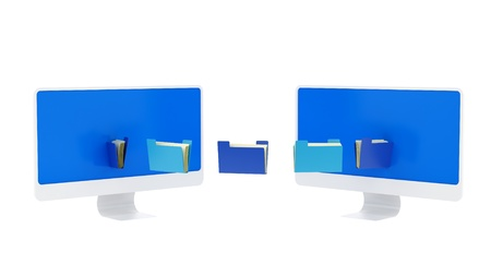 render of 2 monitors and folders  Stock Photo - 16955198