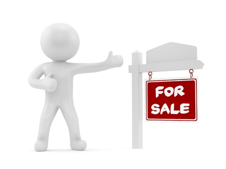 selling points: render of a man with a for sale sign  Stock Photo