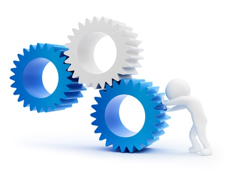 little business man: render of a man pushing gears, isolated on white