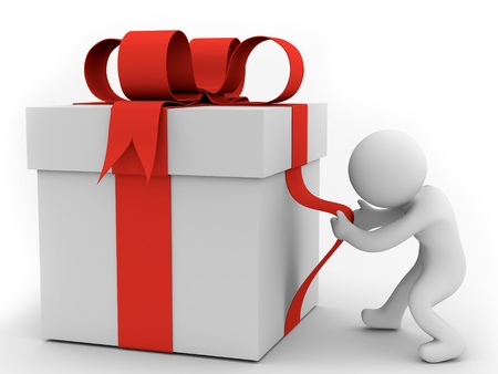 render of a human pulling big gift box  photo