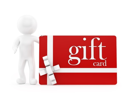 render of a man with a gift card, isolated on white  Stock Photo - 16954527