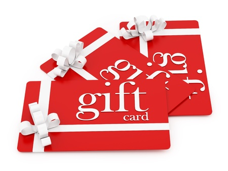 holiday gifts: render of 3 gift cards, isolated on white