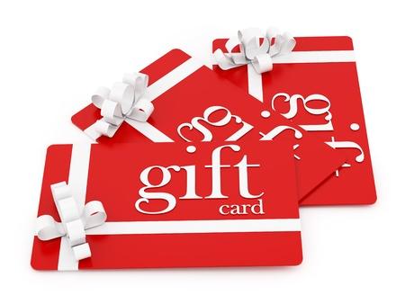 geschenkgutschein: Rendern von 3 Geschenkkarten, isoliert auf wei�