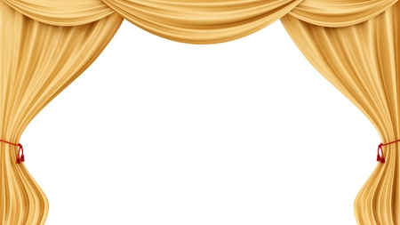 theater auditorium: render of gold curtains, isolated on white