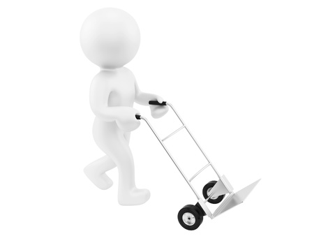 render of a man with an empty hand truck,isolated on white  photo