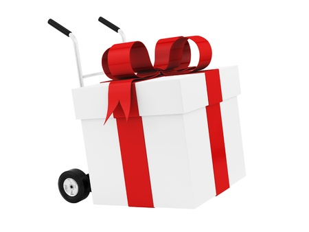 render of a gift box on a hand truck, isolated on white  photo