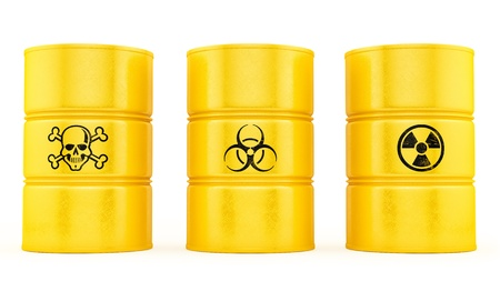 chemical hazard: render of 3 barrels, isolated on white