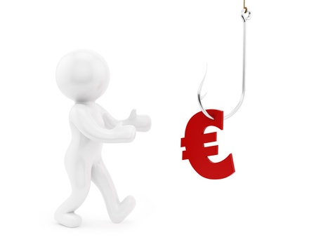 render of a man trying to get euro symbol from a fishing hook  photo