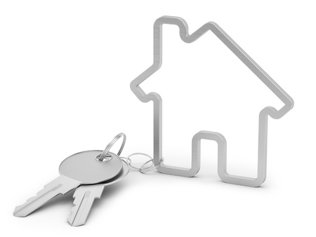 render of house shaped keychain, isolated on white  photo