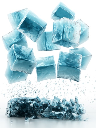 liquid crystal: render of falling ice cubes, isolated on white  Stock Photo