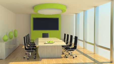 green office: render of a meeting room at daylight