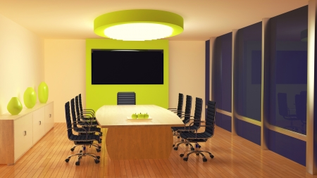render of a meeting room at night