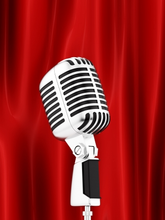 vintage microphone: render of a vintage microphone in front of a red curtain