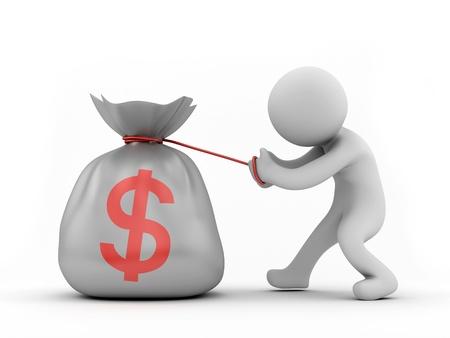 pulling money: Render of a human pulling a big money bag