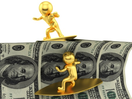 render of 2 man surfing on dollars  photo