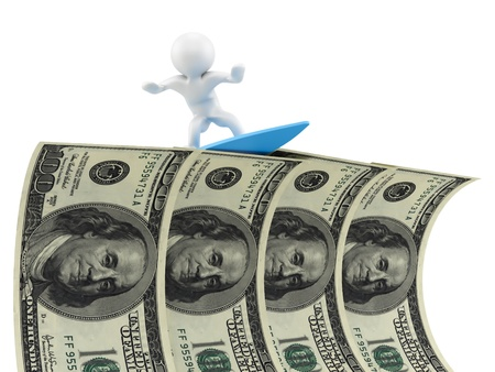 render of a man surfing on dollars  Stock Photo