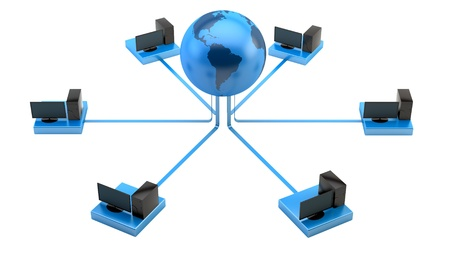 render of PCs connected to the internet Stock Photo - 16889683