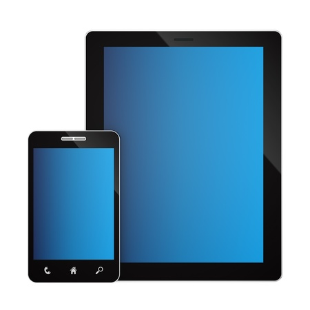 render of a smartphone and a tablet PC, isolated on white  Stock Photo - 16889682