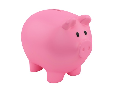 render of a pink piggy bank, isolated on white