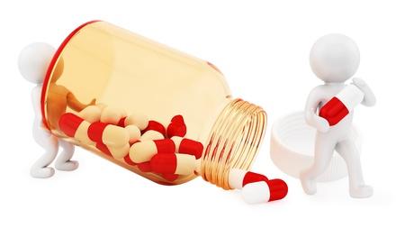 pill bottle prescription bottle: render of 2 man and pills  Stock Photo