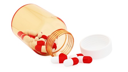 render of pill bottle and pills