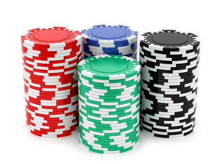 chips stack: render of casino chips, isolated on white