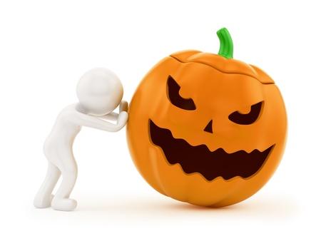 render de un hombre que empuja una calabaza de Halloween