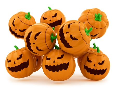 3d halloween: render of Halloween pumpkins on a white background