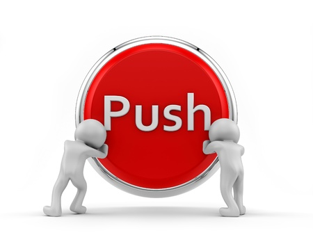 render of 2 human pushing big button  Stock Photo - 16876319