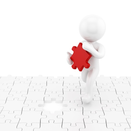 render of a man with the missing puzzle piece Stock Photo - 16876294
