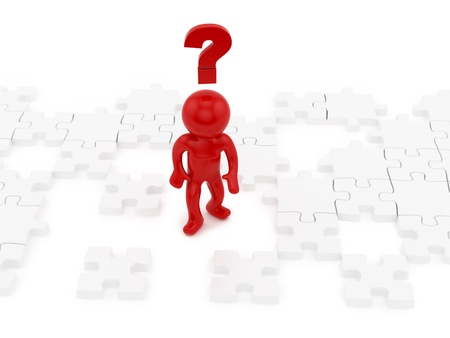 render of a human with question mark and puzzle pieces  Stock Photo - 16876264
