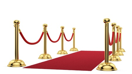 red barrier velvet: render of gold stanchions and a red carpet  Stock Photo