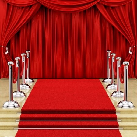 render of a red carpet with silver stanchions and curtains  photo