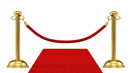 barrier rope: render of gold stanchions and a red carpet  Stock Photo