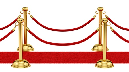 velvet rope: render of gold stanchions and a red carpet