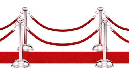 velvet rope: render of silver stanchions and a red carpet