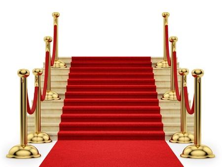 render of gold stanchions and a red carpet  Reklamní fotografie