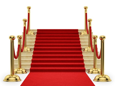 velvet rope barrier: render of gold stanchions and a red carpet  Stock Photo