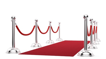 render of silver stanchions and a red carpet  photo