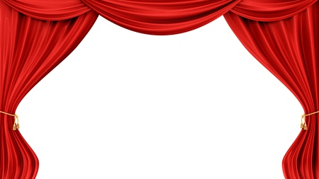 velvet rope: render of red curtains, isolated on white