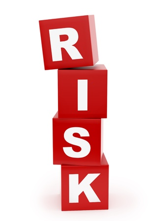 insecure: render of risk cubes, isolated on white  Stock Photo