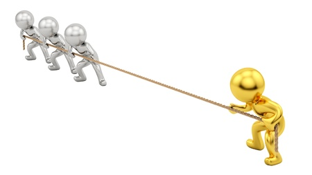 render of gold human and silver humans pulling rope Stock Photo - 16876229