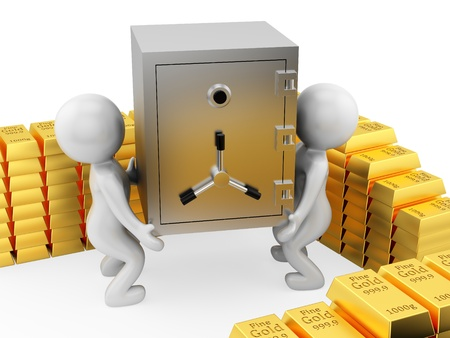 render of 2 man carrying a safe Stock Photo - 16876496