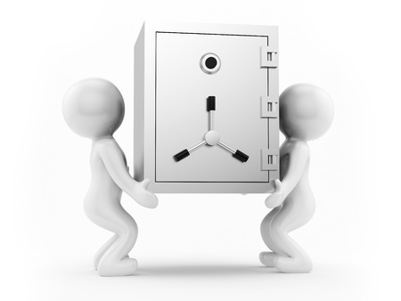 render of 2 man carrying a safe  photo