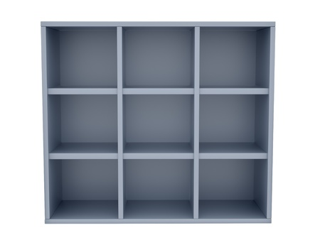 render of empty shelves, isolated on white  photo