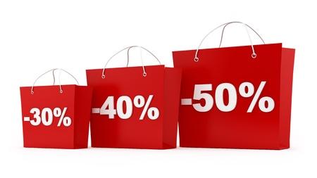 rinde de 3 bolsas de la compra con 30,40,50 por ciento de descuento