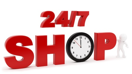 render of 24 7 shop sign, isolated on white  Stock Photo - 16876329