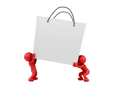 render of 2 man lifting big shopping bag Stock Photo - 16876231
