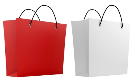 render of 2 shopping bags in different colors Stock Photo - 16876257