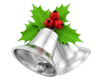 render of silver bells with holly berries, isolated on white  photo